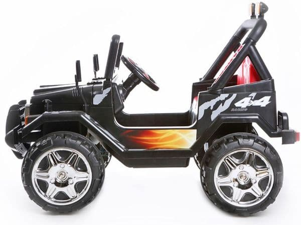 4x4 Truck Style Black Jeep | Kids Sit & Ride In Toy Car 12v Battery Powered